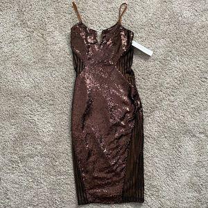 Dance & Marvel Copper Sequin Dress